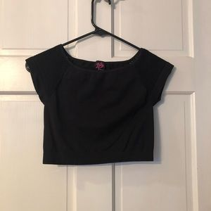 Black Crop Top with Mesh Short Sleeve